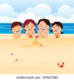 Happy family lying on beach. Family having fun at the beach.