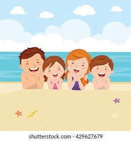Happy family lying on sand. Family having fun at the beach enjoying nature.