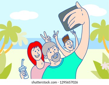 Happy family makes selfie on beach side vacation time