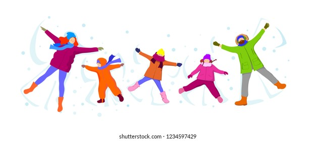 Happy family makes a snow angel.Vector illustration.