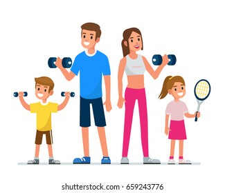 Happy family making exercise in gym.  Flat style vector illustration isolated on white background.