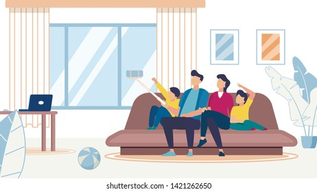 Happy Family Making Selfie, Mother, Father, Son and Daughter Sitting on Sofa Posing on Smartphone. Loving Relations, Sweet Moments of Life, Weekend Leisure, Technology Cartoon Flat Vector Illustration
