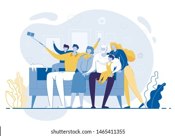 Happy Family Making Selfie, Mother, Father, Son, Daughter, Grandmother and Grandfather Sitting on Sofa Posing on Smartphone. Loving Relations, Sweet Moments of Life. Cartoon Flat Vector Illustration
