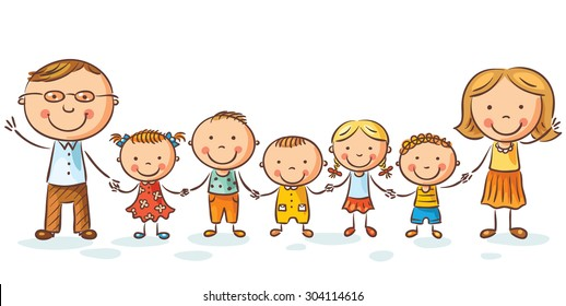 Happy family with many children, may be adopted, isolated on white