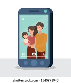 happy family members in smartphone characters vector illustration design