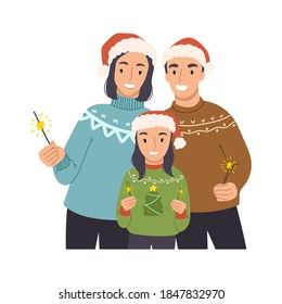 Happy family mom, dad and daughter celebrate christmas and new year. Bengal lights are lit. Gift card for the winter holidays. Vector hand drawn illustration in cartoon style.
