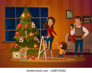 Happy family mom and two children dresses up Christmas tree. The boy unwinds the garland. Family in Christmas sweaters decorate the house for the holiday in a cozy winter evening. Vector illustration.