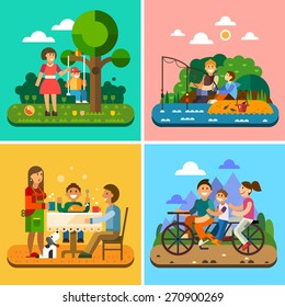 Happy family: mother and child, child on a swing, fishing, family at the table, biking. Vector flat illustration