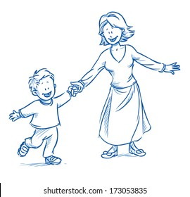 happy family, mother with her son, playing in her leisure time, running and laughing - hand drawn sketch