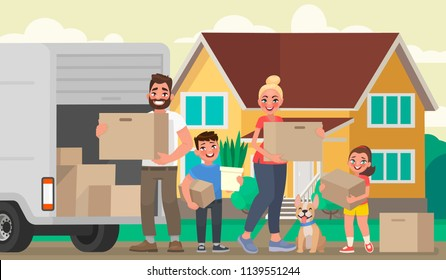 Happy family moves to a new house. Father, mother and children are holding boxes with things in the background of the home. Vector illustration in cartoon style