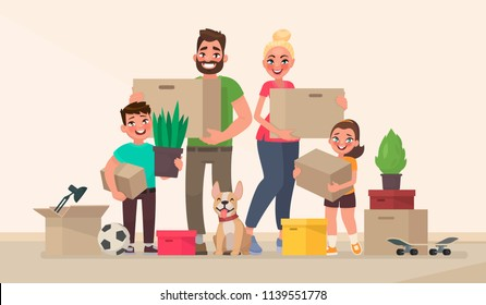 Happy family and moving to a new home. Buying a new house or apartment. Vector illustration in cartoon style