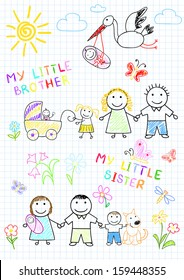 Happy family with a newborn. Vector sketch on notebook page