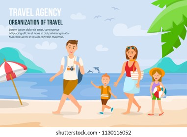 Happy Family on Beach. Father, Mother, Son and Daughter enjoying Beach Vacation walking on Sand. Parents and Children having Fun at Beach. Summer Vacation on Seashore. Vector Illustration.