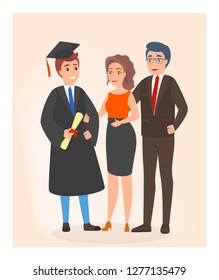 Happy family on graduation day. Father, mother and son stand together. Young student with diploma and cap. Isolated flat vector illustration