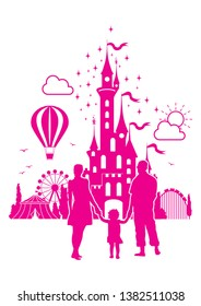 Happy family on holiday in amusement park - vector silhouette outline
