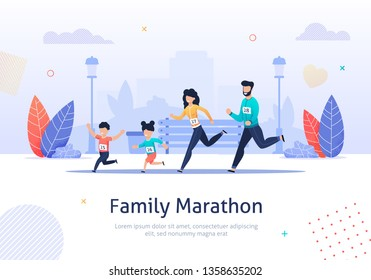Happy Family on Jogging Banner Vector Illustration. Father, Mother, Daughter and Son are Running around in Park. Healthy Lifestyle. Sporty Characters. Exercising Parents and Children.