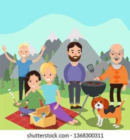 Happy family on a picnic. Dad, mom, son, daughter, and grand father are resting in nature mountains. Barbeque grill. Vector illustration in a flat style
