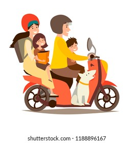 Happy family on scooter. Man and woman with children and dog on motorcycle vector illustration. People drive motorbike. Retro scooter cartoon flat design, isolated on white background