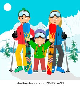 happy family on ski holiday in the mountains