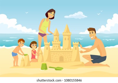Happy family on vacation - cartoon people character illustration. Young smiling parents building a sandcastle on the beach with their son and daughter, having fun together