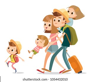 Happy family on vacation isolated