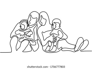 Happy family one continuous line drawing, single hand drawn father, mother, and kids. Portrait of care and togetherness in family time. Good banner celebration for international day of families.