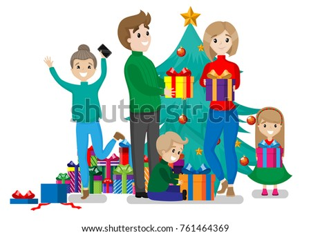 Happy Family Opening Christmas Presents Gift Stock Vector (Royalty ...