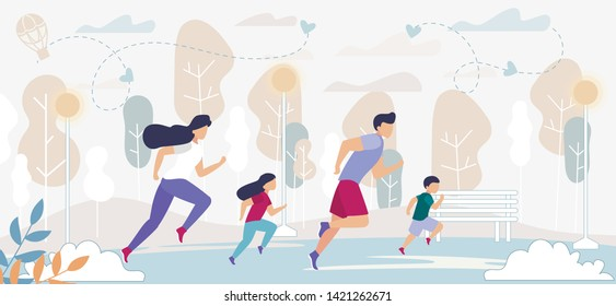Happy Family Outdoors Sport Activity. Father, Mother and Kids Exercising, Morning Jogging Track, Dad Son, Mom and Daughter Fitness Training, Marathon Running, Health. Cartoon Flat Vector Illustration