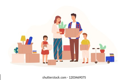 Happy family packing stuff to move to new house or apartment. Mother, father, son and daughter holding boxes, carriage with cat and houseplant. Colorful vector illustration in flat cartoon style.