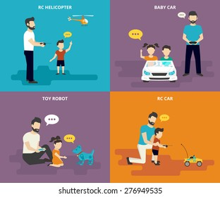 Happy family and parent playing with child. Family flat icons set of father with his son playing in radio controlled helicopter, childs driving kids car, father and daughter playing with robotic toy