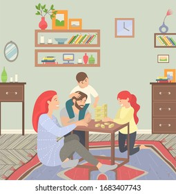 Happy family of parents and children at home on floor playing games. They sitting on carpet and play jenga. Happiness and cosiness. Mother and father, son and daughter. Vector illustration flat style