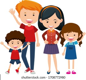 Happy family with parents and children on white background illustration