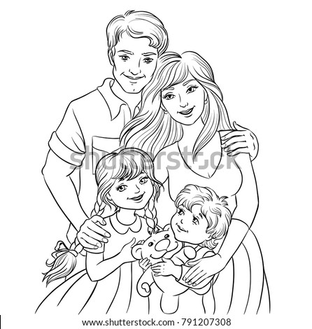 Happy Family Parents Kids Father Mother Stock Vector (Royalty Free ...