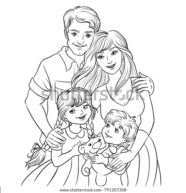 Happy Family Parents Kids Father Mother   Royalty-Free Stock Image