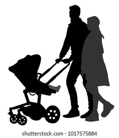 Happy family, parents walking outdoor with baby and pram, vector silhouette isolated on white background. Baby carriage. Fathers day. Mothers day. Young couple with baby enjoy in park. Family values.