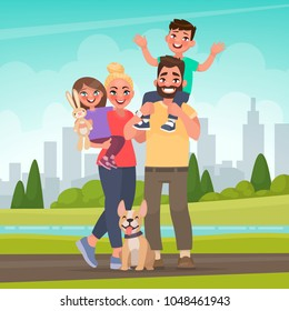 Happy family in the park. Father, mother, son and daughter together in nature. Vector illustration in cartoon style