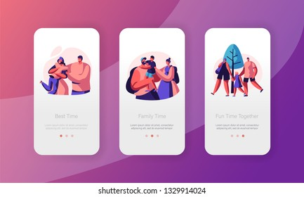 Happy Family People Mobile App Page Onboard Screen Set. Dad Mother and Son Character Relationship. Parent and Kid Together. Parenthood Concept Website or Web Page. Flat Cartoon Vector Illustration