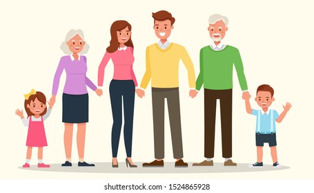 Happy family people mother, father, grandparents and children together character vector design.