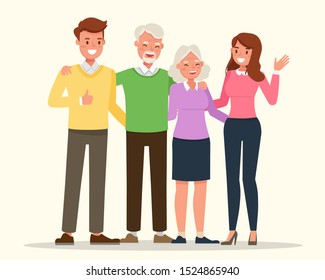 Happy family people mother and father and grandparents together character vector design.