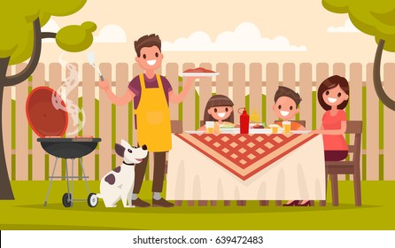 Happy family at a picnic is preparing a barbecue grill outdoors. Vector illustration in a flat style