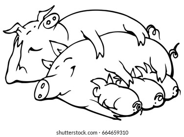 Happy family of pigs - vector illustration, isolated on white