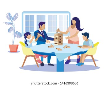 Happy Family Playing at Home Flat Cartoon. Tower Game for Parents and Children. Mom, Dad and Kids Gaming Wooden Block Stack Balance Risk Puzzle Toy Sitting around Table. Vector Illustration