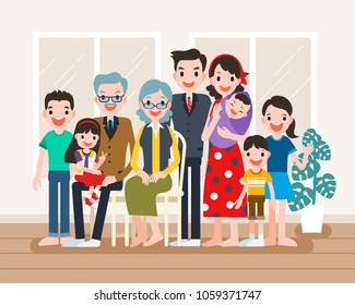 Happy family portrait, big family get together in flat design