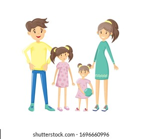 Happy family portrait. Father, mother, son and daughter together with cheerful smile. Joint pastime. Walking outdoors in park. Vector illustration in cartoon style.