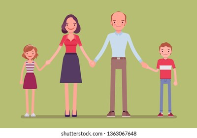Happy family portrait. Group of two married members, parents, children living together in unit, mother, father, son and daughter holding hands and smiling, enjoy good relationship. Vector illustration