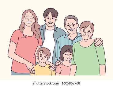Happy family portrait. hand drawn style vector design illustrations.