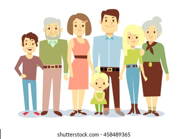Happy family portrait, vector flat characters. Grandfather and grandmother, mom and dad, kids.