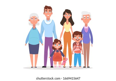 Happy family portrait. Vector people. Father, mother, grandmother, grandfather and children. Three generations. Vector illustration of a cartoon style