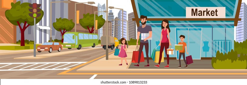 Happy Family with Product Bag and Gift Box Walk out of Shop into the City after Shopping in Supermarket Mall. Customer Cartoon Vector Characters Lifestyle Situation on the Urban Street.