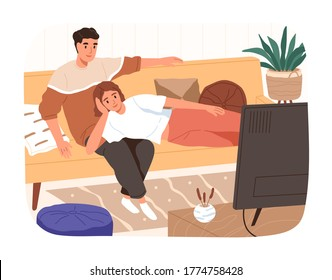 Happy family relaxing on couch watching tv vector flat illustration. Smiling man and woman spending time together isolated. Domestic husband and wife on comfy sofa enjoying home entertainment